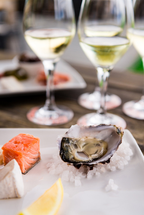 Tassie oysters and wine