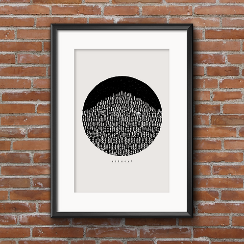 Born in the Woods , Vermont Print 11x14