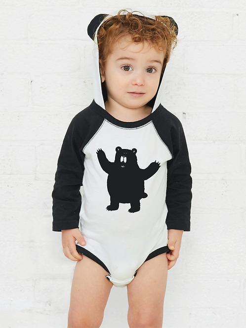 Growly Bear Short Sleeve Body Suit with Hood and Ears