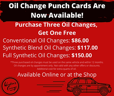 Oil Change Punch Cards Are Now Available