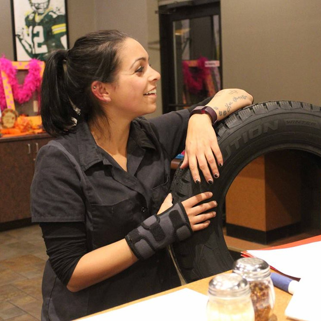 Stephanie educating on tires
