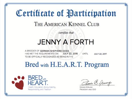 AKC BRED with H.E.A.R.T. breeder
