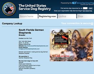 Service Dog German Shepherd breeder certificate