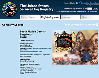 Service Dog German Shepherd breeder certificate