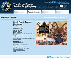 United States Service Dog Registery German Shepherd breeder
