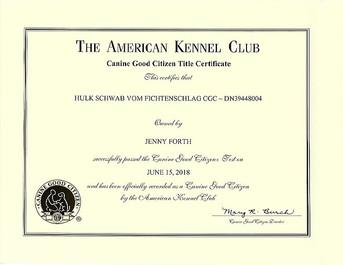 AKC certificate