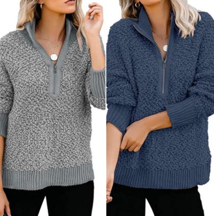 60% price drop on Casual Zipper Fleece Pullover!!