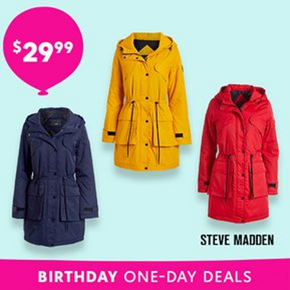 TODAY ONLY - Steve Madden Rain Jackets just $29.99