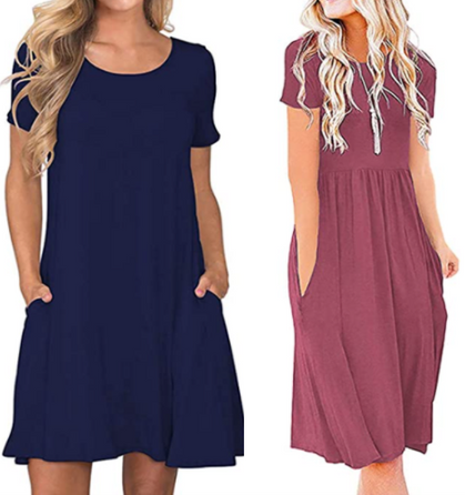 Casual T-Shirt Dresses with Pockets drop 50% OFF