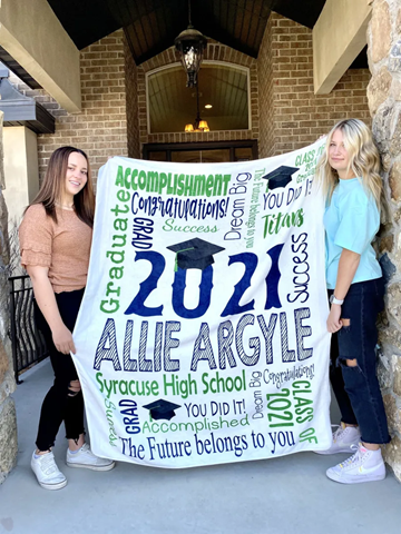 Personalized Graduation Blankets are marked down + ship free