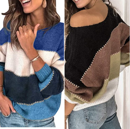 Knit Color Block Sweaters drop under $15 here