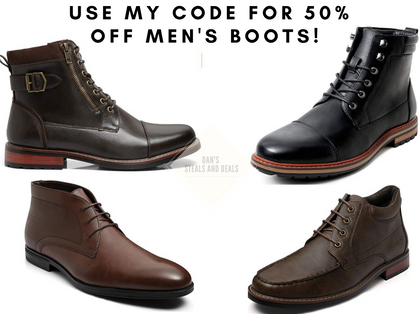 50% off men's boots when you use CODE