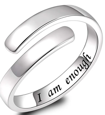 Sterling Silver 'I Am Enough' Rings half off w/code