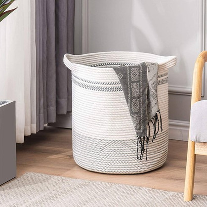 Half off this Woven Cotton Rope Basket with Handles! Love it!
