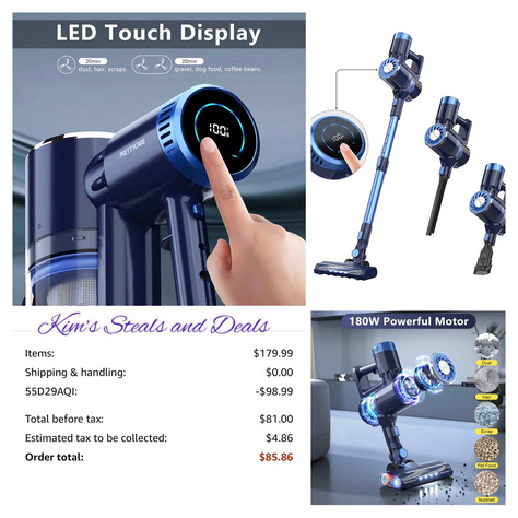 Cordless Vacuum Cleaner with LED Touch Display