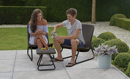 Resin Wicker Patio Set with Table and  Chairs is a DEAL!