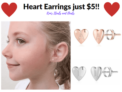 $5!?! Use my code to score these adorable Initial Heart Earrings!