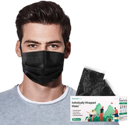 Disposable black face masks are a deal with group code!!