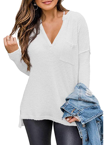 Use code for half off this Gorgeous Waffle Knit top!