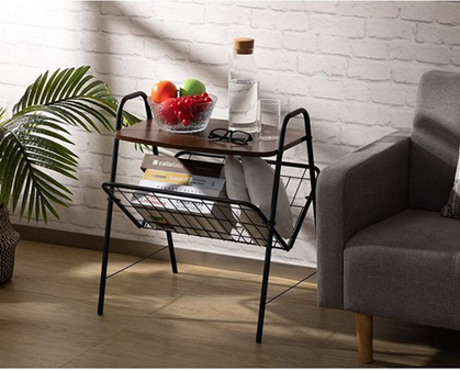 40% OFF this Side Table with Metal Storage Basket!