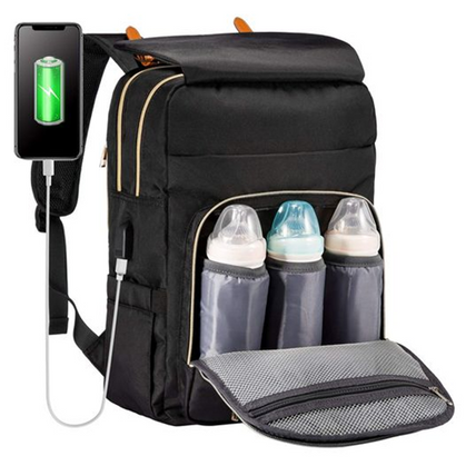 Multifunctional Diaper Backpack with Charger and Insulated Bottle Pockets Half OFF with code!!!