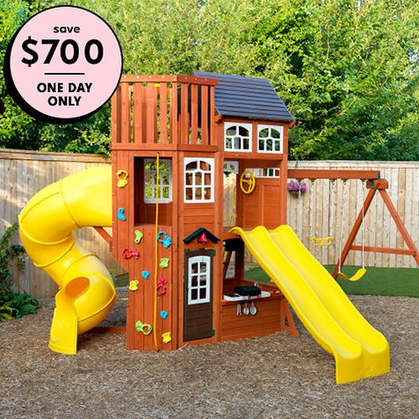 The Lookout Extreme Wooden Swing Set is $700 OFF Today + an additional 10% OFF
