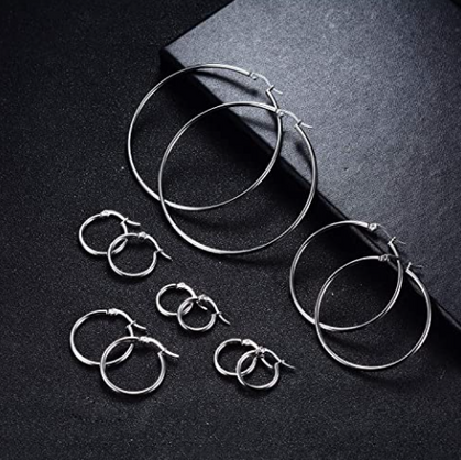 6 Pairs of Stainless Steel Hoops half off with group code
