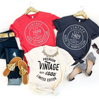 Customizable Vintage Tees are the perfect gift for a birthday. Marked down + ships free!