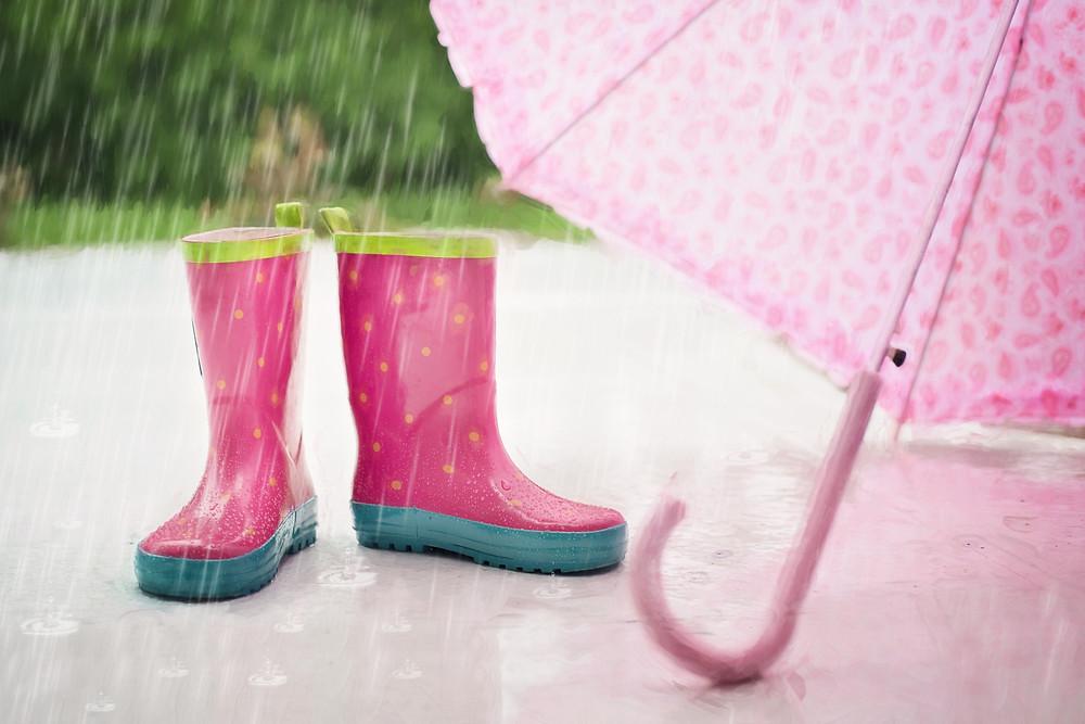 rain boots, umbrella, rain drops, puddle, boots, rainy