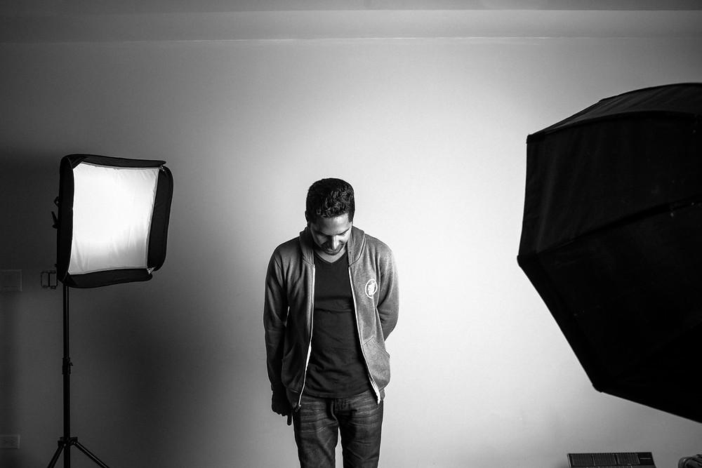 lightbox, shadow, subject, photographer, studio, umbrella, beams, soft box