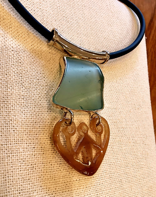 SEA GLASS AND CARVED HORN PENDANT