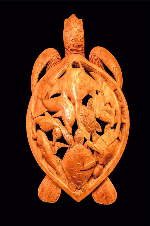 LARGE ROSEWOOD HAWKSBILL TURTLE CARVING - SOLOMON ISLANDS