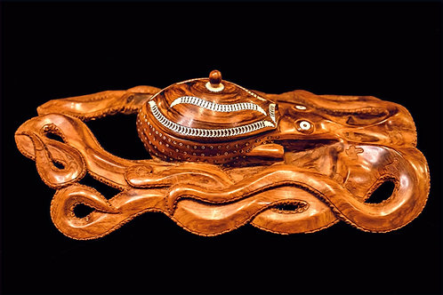 OCTOPUS CARVING WITH LIDDED BOWL - SOLOMON ISLANDS