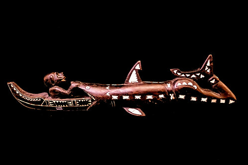 SHARK SWALLOWING MAN AND CANOE - SANTA CRUZ ISLANDS - SOLOMON ISLANDS