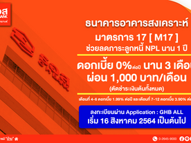 ธอส. ประกาศมาตรการช่วยเหลือลูกหนี้ NPL นาน 1 ปี ดอกเบี้ย 0% นาน 3 เดือนแรก ผ่อนเพียง 1,000 บาท/เดือน