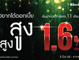กสิกรไทย ออกแคมเปญบัญชีเงินฝากประจำพิเศษ 11 เดือน ดอกเบี้ยสูง 1.6% ต่อปี รับดอกเบี้ยทุกเดือน