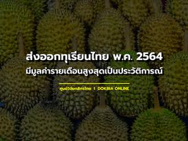 ส่งออกทุเรียนไทย พ.ค.2564 มีมูลค่ารายเดือนสูงสุดเป็นประวัติการณ์