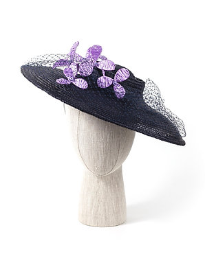French Navy Hat with Lilac Flowers