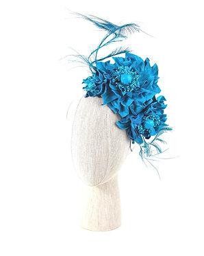 Teal Floral Leather Headband