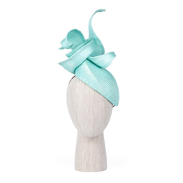Sculptured Straw Headpiece in Aqua