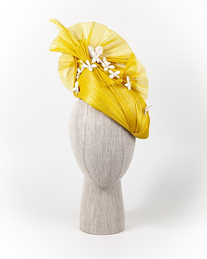 Vibrant Yellow Silk Abaca Headpiece