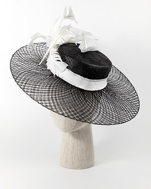 Black and White Feathered Hat