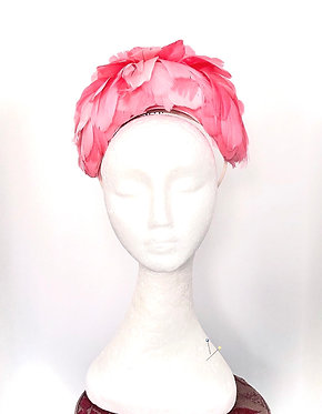 Vintage Inspired Floral Headband in Coral
