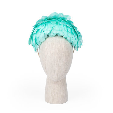 Vintage Inspired Feather Headband in Aqua