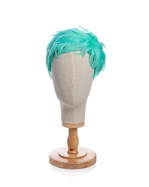 Aqua Feathered Headpiece