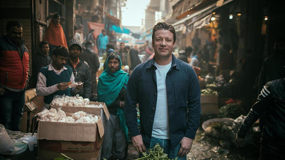Jamie Oliver tasting his way through the food markets of India
