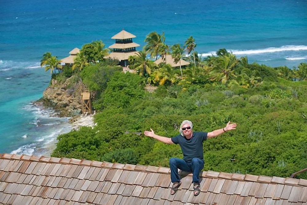 Richard pictured holidaying on his beloved Necker Island in the Caribbean