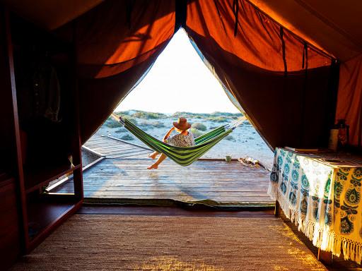 Luxury eco-camping with beach hammocks at Western Australia's Sal Salis Ningaloo Reef