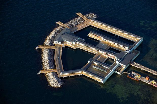 An aerial view of the Ribersborg bathhouse in Malmo, Sweden
