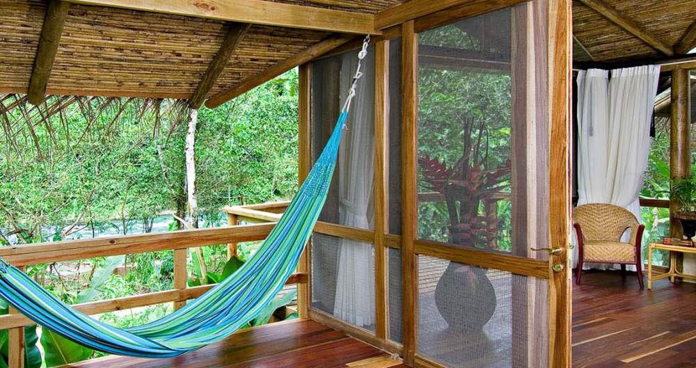 The rainforest Costa Rica resort, Pacuare Lodge, offers jungle tree houses with hammocks